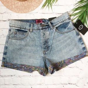 RVCA GRILLO BARTON PRINTED DENIM SHORT MID RISE 29